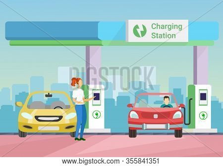 People Charge Electronic Car On Charging Station. Woman And Male Customer At Charging Station. Woman