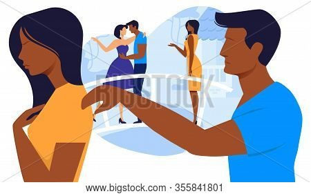 Relationship Breakup Flat Vector Illustration. Angry Girlfriend And Sad Boyfriend Cartoon Characters