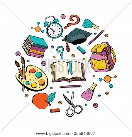 Cartoon Cute Doodle Back To School Phrase. Colorful Illustration. Background With Lots Of Objects. F
