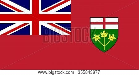 The Provincial Flag Of Ontario Canada With Motif And Union Flag