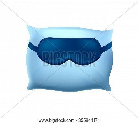 Sleeping Mask On Blue Pillow On White Background. Cotton Pillowcase. Orthopedic Pillow 3d Image. Hea