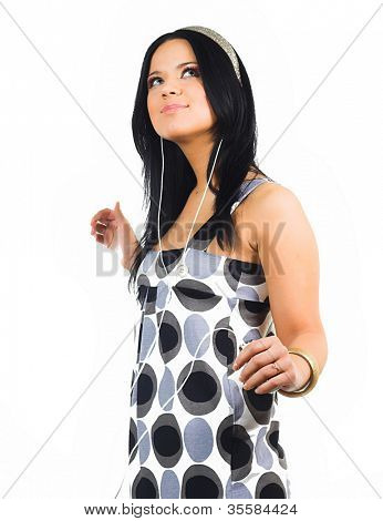 tanzenden Frau isoliert auf weiss