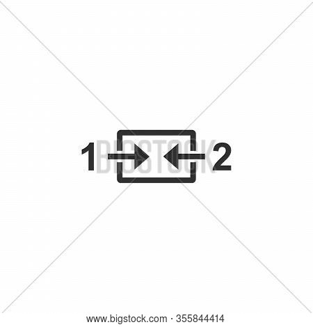 Merge In One Two Arrows Button. Combine Join Or Sync Conept. Stock Vector Illustration Isolated On W