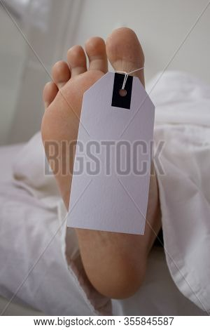 Dead Body In Morgue With Identification Sign On Thumb.dead Body In Morgue With Identification Sign O