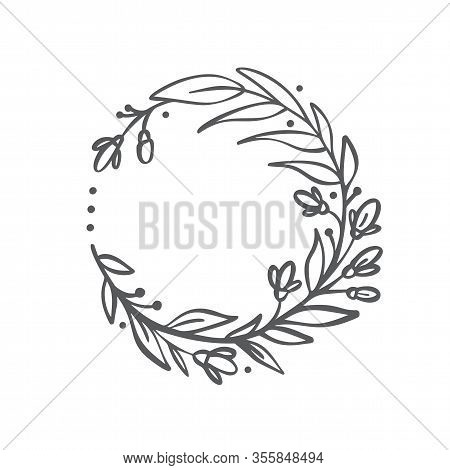 Hand Drawn Branches Wreath. Vector Floral Design Spring Frame Logo Element For Invitations, Greeting