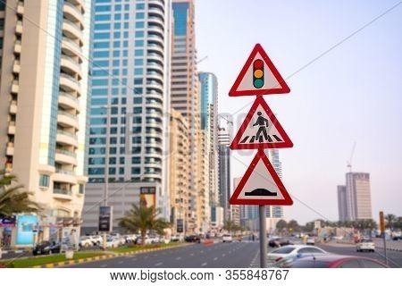 Traffic Light Sign. A Road Sign Warning Of A Traffic Light Ahead. Speed Bump. Pedestrian Crossing An