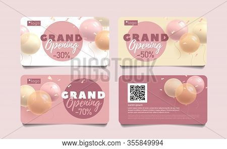 Set Of Discount Cards For Grand Opening, Round Shape Balloons 3d Vector Illustration And Typography,