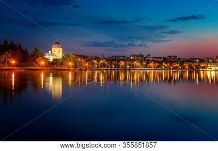 Amazing Nightscape Of Exaltation Of Cross Church Over The Ternopil Pond, Ternopil, Ukraine