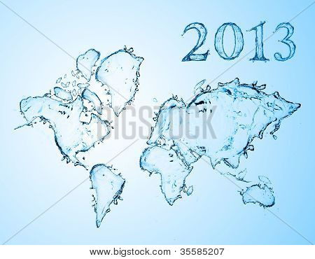 world map from water splashes