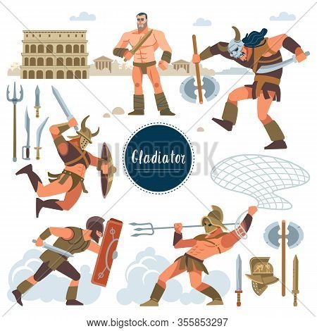 The Gladiator. Set In Ancient Rome Illustration Historic Gladiator, Warriors Flat Characters. Warrio