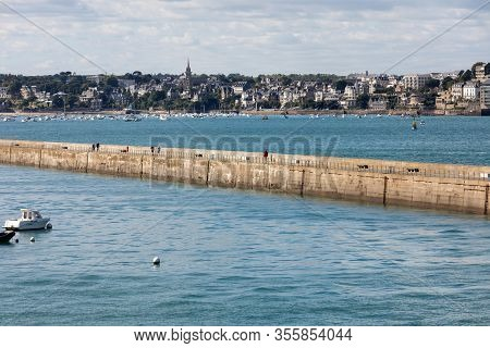 St Malo, France - September 14, 2018: View From The Ramparts At The Pier Mole Des Noire In Saint Mal