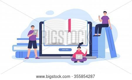 Illustration On E-book Theme. Cute People Study And Read Books On Phones, Laptops, Computers And Tab