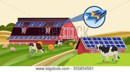 Solar Batteries On Animal Barn Roof Vector Illustration. Cartoon Farm Building With Photovoltaic Pan