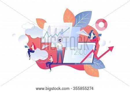 Vector Illustration Change In Office Mode Cartoon. Men And Women Work Laptops. Change In Labor Produ