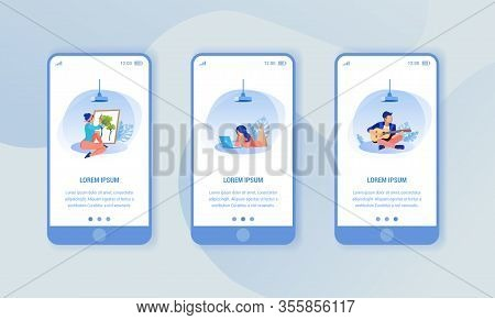Three Smartphones With Images People Hobby. Print Image. Three Smartphones On Blue Background. Cowor