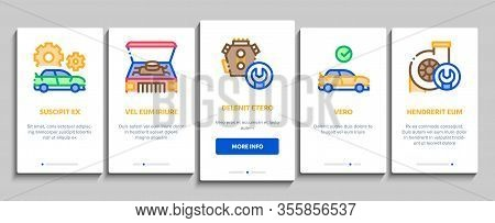 Car Restoration Repair Onboarding Mobile App Page Screen Vector. Classic And Crashed Car Restoration