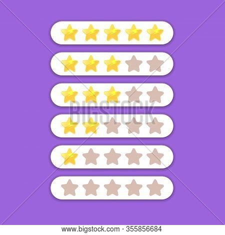Five Star Rating Icon Set. Client Feedback System Rating With Cartoon Stars.funky Rate Us Web Page D