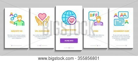 Friendship Relation Onboarding Mobile App Page Screen Vector. Handshake And Friendship Gesture, Love
