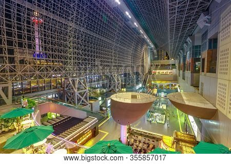 Kyoto, Japan - April 27, 2017: Aerial View Of Window Glass Inside Of Kyoto Station Illuminated By Ni