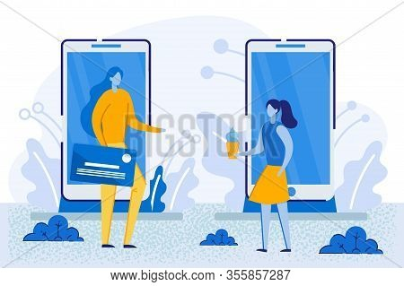 Woman With Credit Card And Girl With Icecream Stand At Huge Mobile Phones. People Buying Things In V