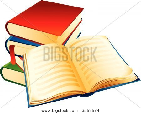 The Vector illustration -a pile of old books poster