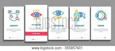Glaucoma Ophthalmology Onboarding Mobile App Page Screen Vector. Glaucoma Disease Symptoms And Treat