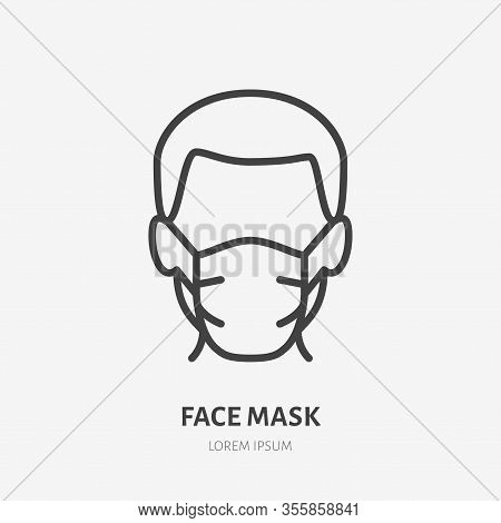 Man In Face Mask Line Icon, Vector Pictogram Of Disease Prevention. Protection Wear From Coronavirus