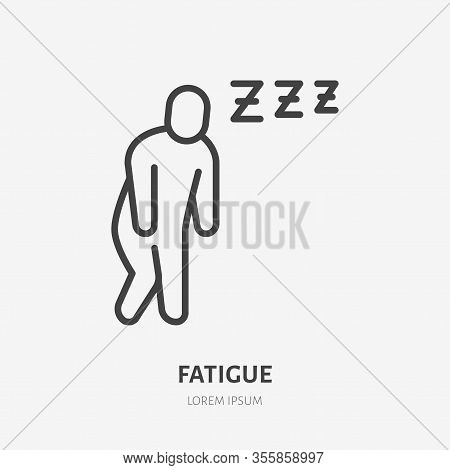 Fatigue Man Line Icon, Vector Pictogram Of Flu Or Cold Symptom. Tired Person, Illustration, Exhauste