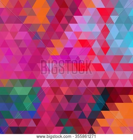 Multicolor Purple, Pink Polygonal Illustration, Which Consist Of Triangles. Geometric Background In