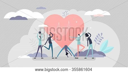 Good Health Concept, Flat Tiny Persons Vector Illustration. Active Lifestyle With Exercise Workouts