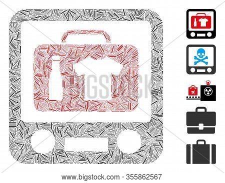 Hatch Mosaic Based On Baggage Xray Screening Icon. Mosaic Vector Baggage Xray Screening Is Composed
