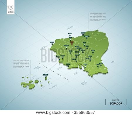Stylized Map Of Ecuador. Isometric 3d Green Map With Cities, Borders, Capital Quito, Regions. Vector