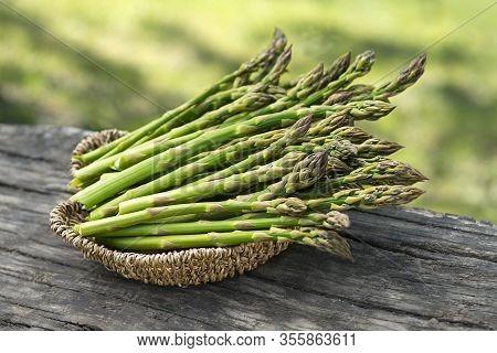 Asparagus. Fresh Asparagus. Pickled Green Asparagus. Bunches Of Green Asparagus In Basket, Top View-