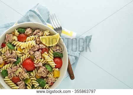 Pasta Salad With Tuna Fish And Vegetables. Healthy Pasta Meal. Seafood.