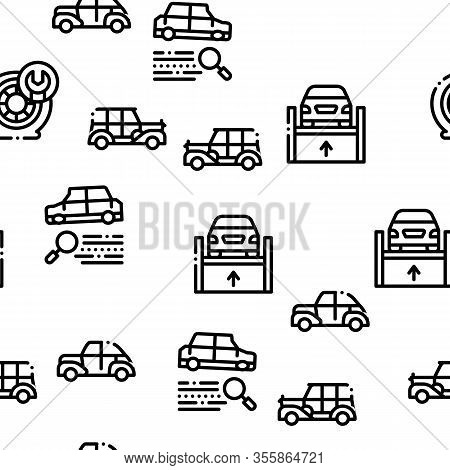 Car Restoration Repair Seamless Pattern Vector Thin Line. Illustrations