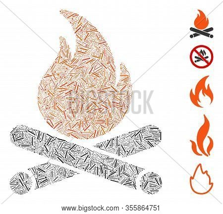 Line Mosaic Based On Campfire Icon. Mosaic Vector Campfire Is Created With Random Line Elements. Bon
