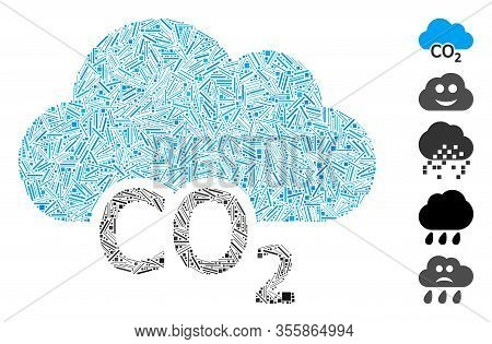 Hatch Mosaic Based On Carbon Cloud Icon. Mosaic Vector Carbon Cloud Is Designed With Scattered Hatch