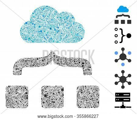Line Mosaic Based On Combine Cloud Icon. Mosaic Vector Combine Cloud Is Formed With Scattered Line I