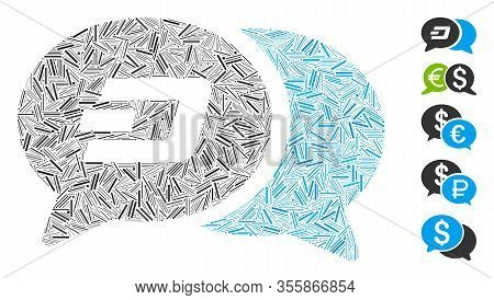 Dash Mosaic Based On Dash Chat Messages Icon. Mosaic Vector Dash Chat Messages Is Composed With Rand