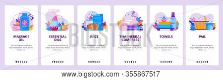 Thai Spa And Massage Parlor Icons. Essential Oil, Towels, Herbal Compress. Mobile App Onboarding Scr