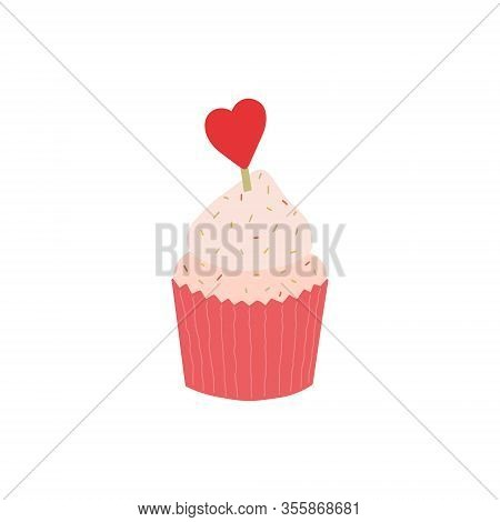 Cupcake With Heart On Top. Delicious Cupcake Topped With A Cherry And Whipped Cream And Sweeties. Pe