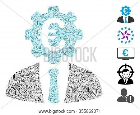 Hatch Mosaic Based On Euro Banker Icon. Mosaic Vector Euro Banker Is Composed With Randomized Hatch