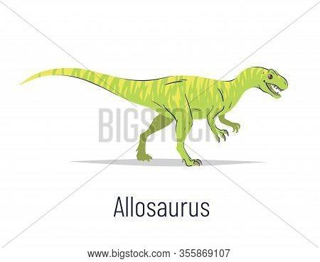 Allosaurus. Theropoda Dinosaur. Colorful Vector Illustration Of Prehistoric Creature Allosaurus In H