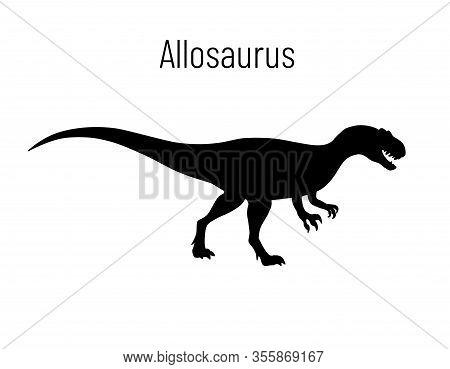 Allosaurus. Theropoda Dinosaur. Monochrome Vector Illustration Of Silhouette Of Prehistoric Creature