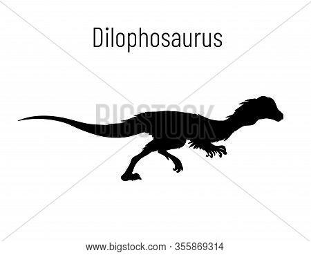 Dilophosaurus. Theropoda Dinosaur. Monochrome Vector Illustration Of Silhouette Of Prehistoric Creat