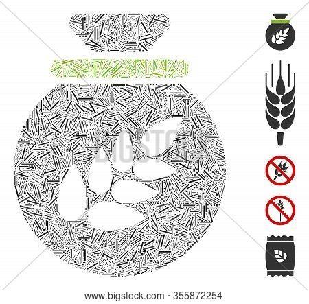 Hatch Mosaic Based On Grain Harvest Sack Icon. Mosaic Vector Grain Harvest Sack Is Created With Rand