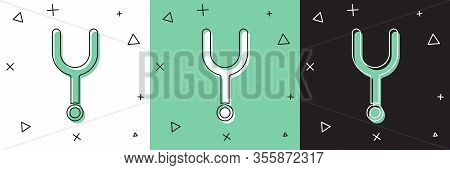 Set Musical Tuning Fork For Tuning Musical Instruments Icon Isolated On White And Green, Black Backg