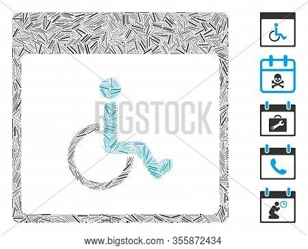 Hatch Mosaic Based On Handicapped Calendar Page Icon. Mosaic Vector Handicapped Calendar Page Is Cre