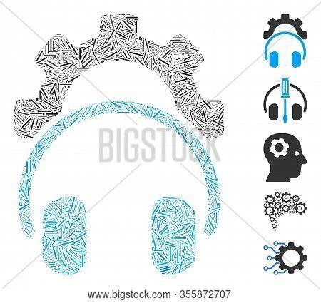 Hatch Mosaic Based On Headphones Configuration Gear Icon. Mosaic Vector Headphones Configuration Gea