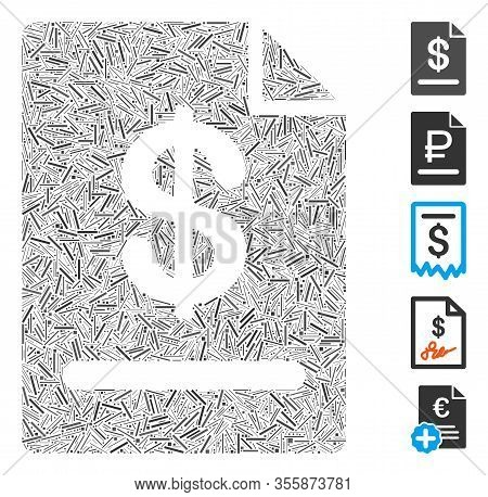 Hatch Mosaic Based On Invoice Icon. Mosaic Vector Invoice Is Created With Scattered Hatch Dots. Bonu
